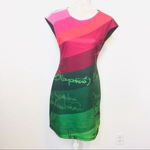 Desigual Sheath Dress Cap Sleeve Green Pink MED